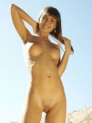 PrettyFoxes — Alena in Awesome gold-skin girl totally naked shows beauty of her body