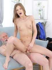 1PassForAllSites — Sarah Key in Yummy babe congratulates an old man with sex